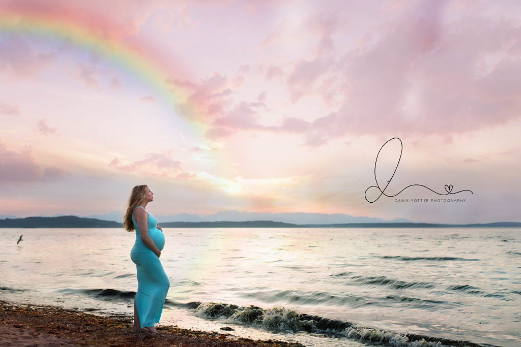 Rainbow Baby | sunset beach maternity session | seattle newborn baby maternity photographer